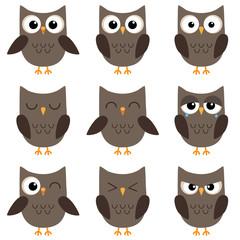 Set of cute cartoon owls emotions