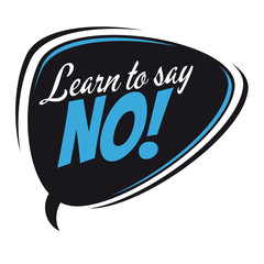 learn to say no retro speech balloon