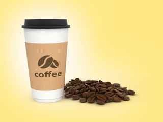 Paper coffee cup with coffee beans on orange gradient background