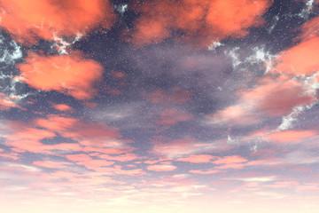 Sky of stranger planet, 3D rendering