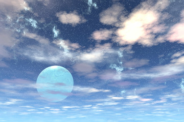 Sky of stranger planet, 3D rendering