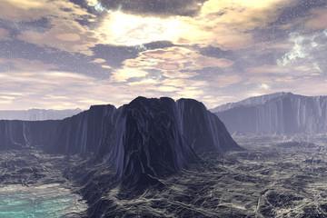 Fantasy alien planet. 3D illustration