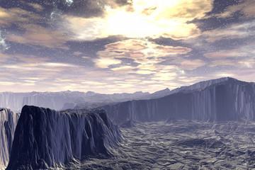 Stranger planet. Rocks and sky. 3D rendering