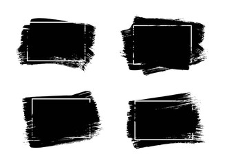 Set of universal grunge black paint background with frame. Dirty artistic design elements, boxes, frames for text.