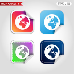 Planet icon. Button with Earth icon. Modern UI vector.