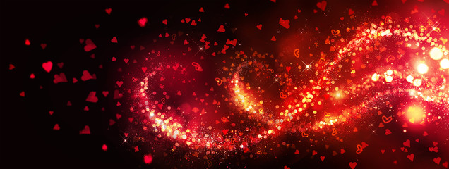 Valentine's Day abstract red blinking hearts background. Romantic flying red hearts