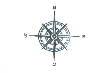 Compass. Watercolor illustration.