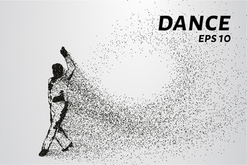 Dance of the particles. Dancer silhouette consists of circles and points. Vector illustration