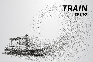 The train of particles. The silhouette of a train composed of dots and circles. Vector illustration