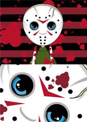 Cute Cartoon Hockey Mask Killer Halloween Pattern
