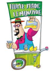 Food festival. Bright and funny vintage kiosk full of homemade goods. Salesman trades self made lemonade. Urban celebration. Hipster trades flavor beverages. Natural organic juice.