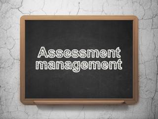 Finance concept: Assessment Management on chalkboard background