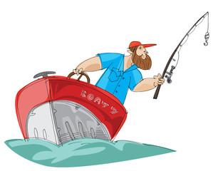 bearded fisher man in motorboat - cartoon