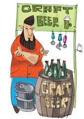 Craft beer vendor. Bearded hipster trades with self made original beer. Food and beer festival.
