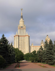 Moscow. The main Building of the Moscow State University and monument to Mikhail Lomonosov