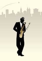 Elegant man silhouette playing saxophone. Skyline city background