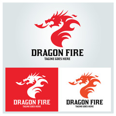 Dragon fire logo design template. Vector illustration