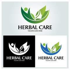 Herbal care logo design template. Vector illustration