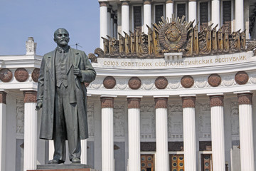Russia. Moscow. Monument of Vladimir Lenin near Central Pavilion of Exhibition of Achievements of National Economy.