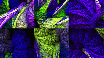 Patterns of thread. Weaving. Wool. 3D surreal illustration. Sacred geometry. Mysterious psychedelic relaxation pattern. Fractal abstract texture. Digital artwork graphic astrology magic