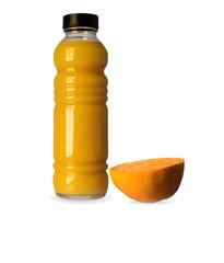 orange juice, bottle, fruit, isolated on white