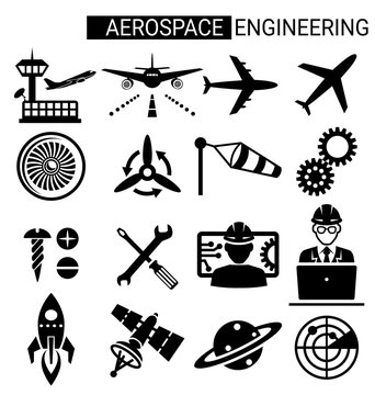 Set of aerospace engineering icon design for airplane