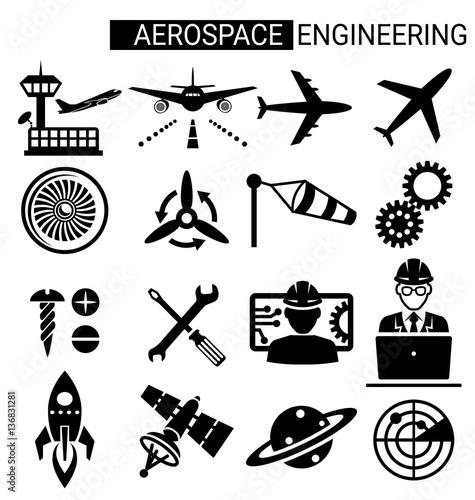 Set Of Aerospace Engineering Icon Design For Airplane Stock Image