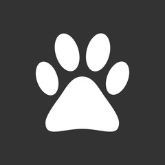 Paw print icon vector illustration isolated on black background. Dog, cat, bear paw symbol flat pictogram.
