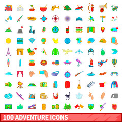 100 adventure icons set, cartoon style