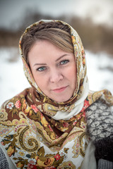 Beautiful Russian woman in a scarf