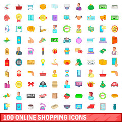 100 online shopping icons set, cartoon style