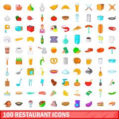 100 restaurant icons set, cartoon style