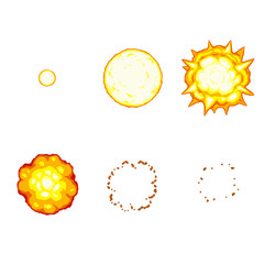 Cartoon explosion animation sprite isolated on white background