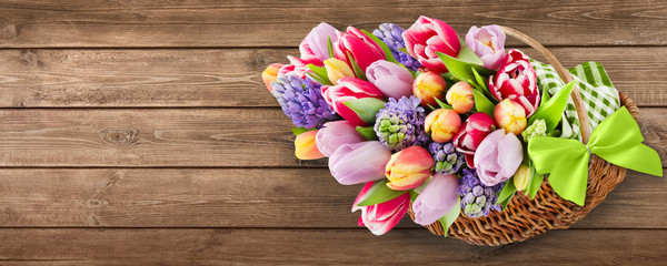 Tulips and decorations - background