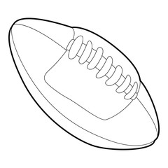 Rugby ball icon, outline style