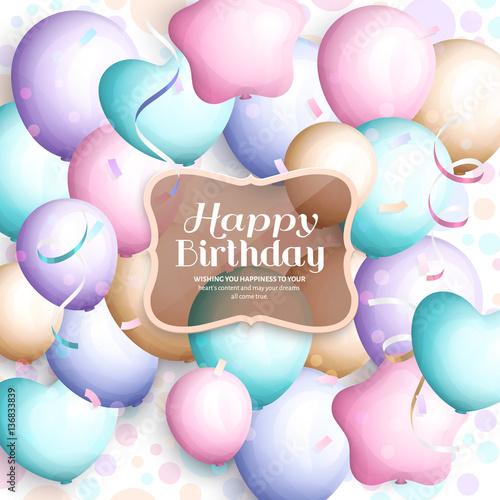 happy birthday greeting card retro vintage pastel party balloons