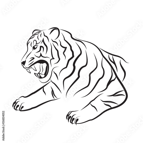 Tribal Art Black Tattoo Silhouette Of Tiger Head
