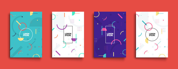 Covers with trendy minimal design. Cool geometric backgrounds for your design. Applicable for Banners, Placards, Posters, Flyers etc. Eps10 vector template.