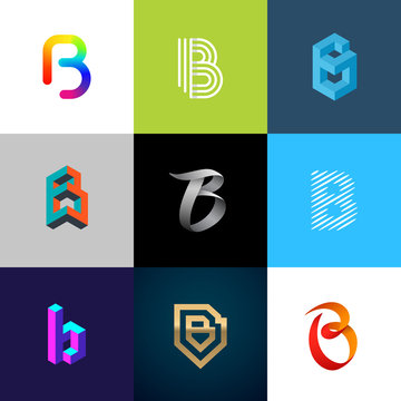 """Letter """"B"""" big logo pack. Creative vector monograms. Striped, ribbon, colorful, isometric, linear, 3d logos.Eps10 format."""