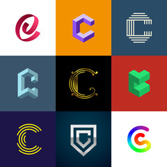 "Letter ""C"" big logo pack. Creative vector monograms. Striped, ribbon, colorful, isometric, linear, 3d logos.Eps10 format."
