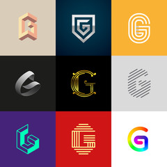 "Letter ""G"" big logo pack. Creative vector monograms. Striped, ribbon, colorful, isometric, linear, 3d logos.Eps10 format."