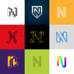 "Letter ""N"" big logo pack. Creative vector monograms. Striped, ribbon, colorful, isometric, linear, 3d logos.Eps10 format."