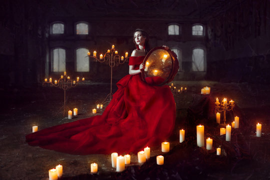 Beautiful lady with candles