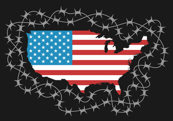 Territory of USA as protected area by barbed wire - american policy of isolationism, ban to enter and protection of borders. Vector illustration with map and flag of USA
