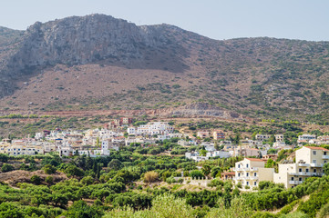 Piskopiano village in sunny summer day, Crete, Greece.