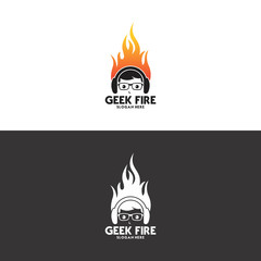 geek fire logo in vector
