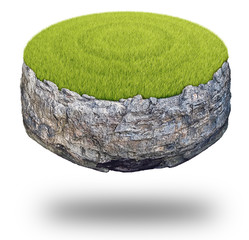 Abstract round rock island covered with green grass isolated on