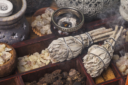 Incense of Salvia Apiana (White sage, sacred sage, bee sage, california sage) and various kinds of incense: myrrh, frankincense, gowe, palo santo.