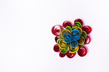 Quilling art. Paper pyramid on the white background