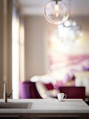 Kitchen, dining room interior close up. Soft focus. 3d rendering